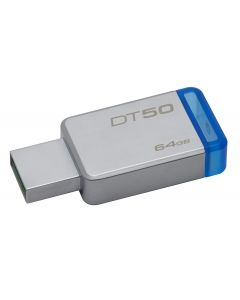 Kingston 64GB USB 3.0 DataTraveler 50 (Metal/Blue) - 64 GB - USB 3.0 - Blue METAL BLUE
